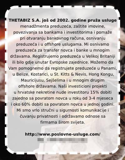 THETABIZ S.A. pruža usluga još od 2002. godine